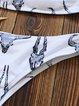 White-black Straped Wireless Animal Printed Bikini