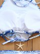 Blue Ruffles Floral Straped Padded Bikini