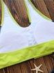 Navy Lime Padded Letter Halter Printed Bikini
