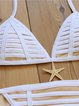 Binding Halter Stripes Padded Polyester Bikini