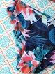 Blue Halter Triangle Polyester Floral Bikini