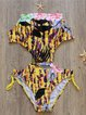 Yellow Halter Animal Print Cut-outs One-piece