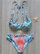 Blue Underwire Straped Floral Printed Bikini