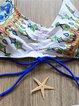 White Straped String Animal Print Bikini