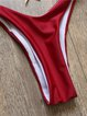 Red Triangle Solid Polyester Bikini
