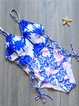 Blue Tree Printed Straped  Lace Up One-piece