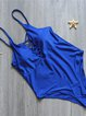 Blue Lace Up Straped Solid One-piece