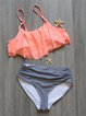 Black Ruffles Straped Stripes Bikini