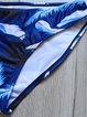 Blue Feather Printed Padded Halter Bikini