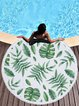 Green Fringed Leaf Printed Polyester Tapestry