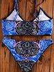 Blue Wireless Printed Straped Nylon Bikini