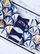 Blue Padded Printed Polyester Bikini