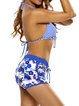 Blue Halter Floral Stripes Printed Bikini