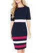 Navy Blue Color-block Sheath Stripes Modest Dress