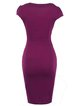 Purple Solid Cotton Elegant V-Neck Midi Dress