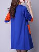 Color-block Pockets Crew Neck Long Sleeve Vintage Dress