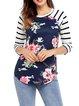 Women's Long Sleeve Cotton-blend Floral T-Shirt