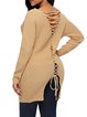 Women's Cozy V Neck Knit Top Sweater Back Lace Up Pullover Sweater