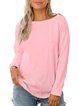 Women's Sexy Open Back Detail Long Sleeve Loose Fit Sweater Top