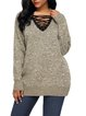 Women's Chic Lace Up Neckline Sweater Top