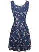 Women's Floral Vintage Scoop Neck Sleeveless A-line Mid Length Dress