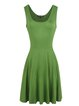 Women's Solid Vintage Scoop Neck Sleeveless A-line Mid Length Dress