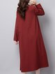 Women's Solid Round Neck Casual Shift Linen Dress