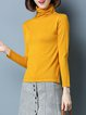 Knitted Solid Cotton Casual Turtleneck Sweater