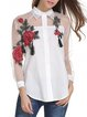 White Shirt Collar Long Sleeve Cotton Floral-embroidered Blouse