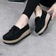 Casual Bow-knot Suede Hollow-out Wedge Heel Loafers