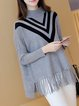 Simple Long Sleeve Polyester Fringed Sweater