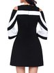Women Prom Dress Cold Shoulder Party 3/4 Sleeve Striped Dress