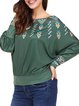 Casual Loose Batwing Slash Neck Printed Blouse