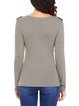 Button V Neck Long Sleeve Top with Pockets
