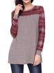 Heather Snowflake Shape Printed Long Sleeves Top