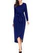 Fashionable Tulip Faux Wrap Sash Tie Jersey Dress