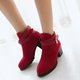 Buckle Suede Chunky Heel Fur Lined Boots