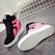 Magic Tape Color Block Lace-up PU Wedge Heel Boots
