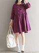 Burgundy Peter Pan Collar Casual Dress