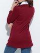 Shirt Collar Simple Cotton-blend Long Sleeve Solid T-Shirt
