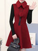 Burgundy Long Sleeve Solid Knitted Stand Collar Dress