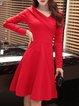 Elegant Asymmetric Long Sleeve V Neck Solid Dress