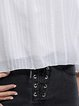 White Stripes Off Shoulder Cotton-blend Long Sleeve Blouse