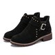 Rivets Buckle Suede Slip On Boots
