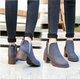 Chunky Heel Suede Elastic Slip On Martin Boots