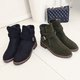 Slip On Suede Buckle Strap Casual Boots