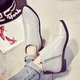 Zipper Low Heel PU Pointed Toe Martin Boots