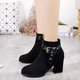 Suede Buckle Strap Chunky Heel Boots
