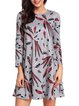 Gray Long Sleeve Graphic Casual Dress