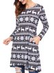 Long Sleeve A-line Casual Graphic Mini Dress